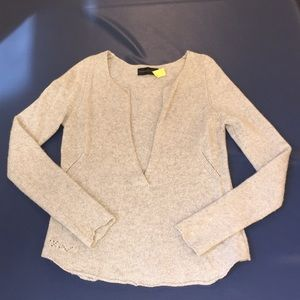 ZADIG & VOLTAIRE Sz L gray cashmere luxe sweater